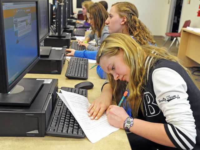 Seventh-grader Meghan Hicks, 12, completes a career assessment in a computer lab at Arroyo Seco Junior High School in Saugus on Monday. (Jonathan Pobre/The Signal)