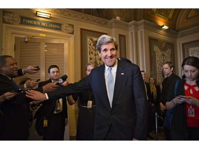 Sen. John Kerry, D-Mass., after a unanimous vote by the Senate Foreign Relations Committee approving him to become America's next top diplomat.