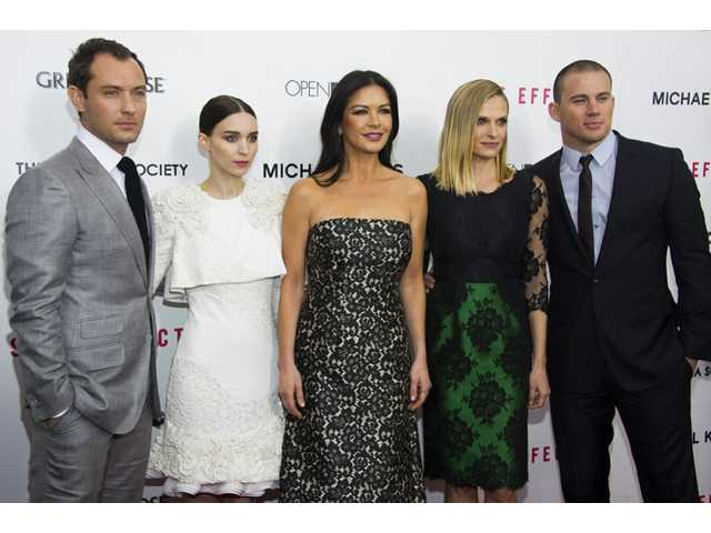 "Jude Law, from left, Rooney Mara, Catherine Zeta-Jones, Vinessa Shaw and Channing Tatum attend the premiere of ""Side Effects."""