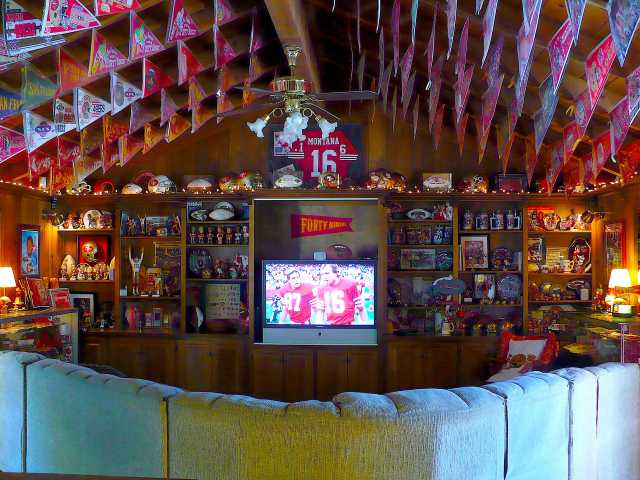 The San Francisco 49er den/bar/museum, at the Canyon Country home of Michael May, contains thousands of items of 49er collectibles and memorabilia. (Courtesy Michael May)