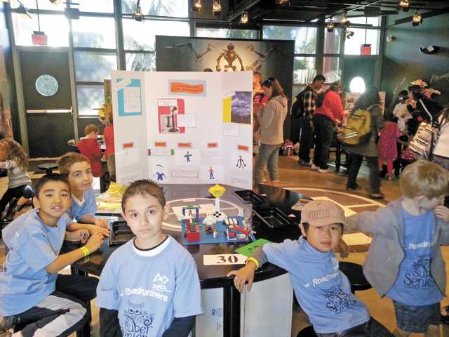 Students from Rosedell Elementary School in Saugus display their projects and posters at the Junior First Lego League event held at Legoland California. (Courtesy)