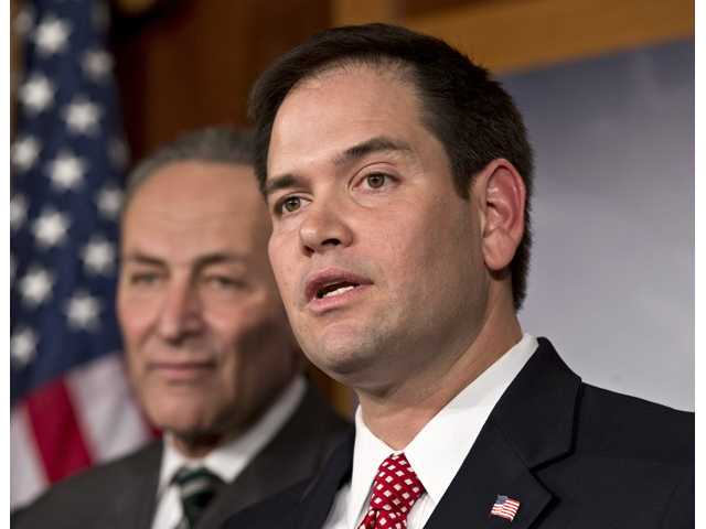 Sen. Marco Rubio, R-Fla., right, and Sen. Charles Schumer, D-N.Y., left.
