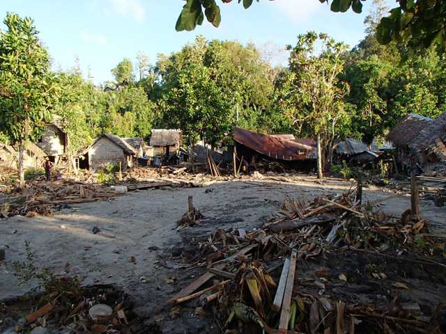 The destroyed Venga village following a Tsunami Wednesday in Temotu province, Solomon Islands.