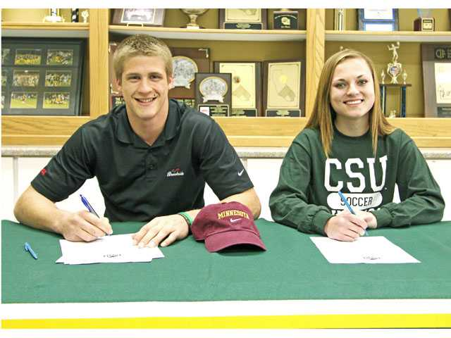 Canyon High: (Left to right) Drew Wolitarsky (football, Minnesota) and Kaila Sargema (Cleveland State).