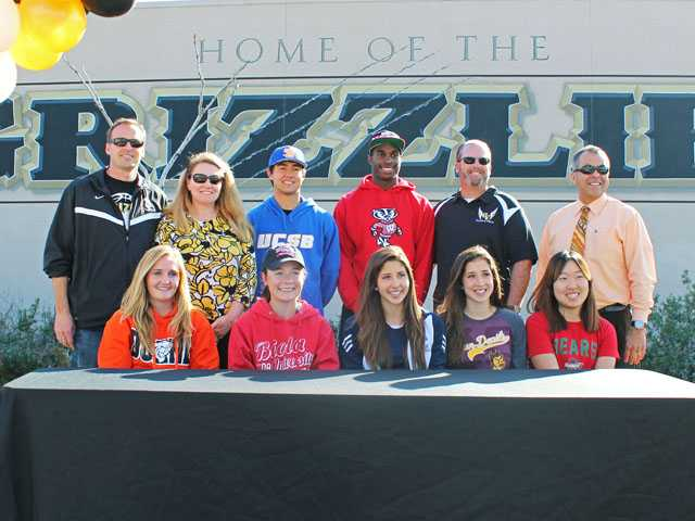 Golden Valley: Billy Fredrick (baseball, UC Santa Barbara), Leon Jacobs (football, Wisconsin), Athletic Director John Quam, Principal Sal Frias. (Bottom row) Michela James (soccer, Doane College), Amanda Hobbs (golf, Biola), Weslie Totten (cross country, UC Riverside), Chelsey Totten (cross country, Arizona State), Rebecca Ho (tennis, Washington University in St. Louis)