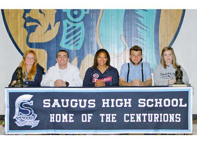 Saugus High: (Left to right) Heidi Hoslet (cross country, Marymount College), Nick Warren (baseball, Fresno State), Angela Weiner (soccer, Fresno State), A.J. Yarnall (cross country, University of Washington) and Hollie Larsen (cross country, The Master's College).