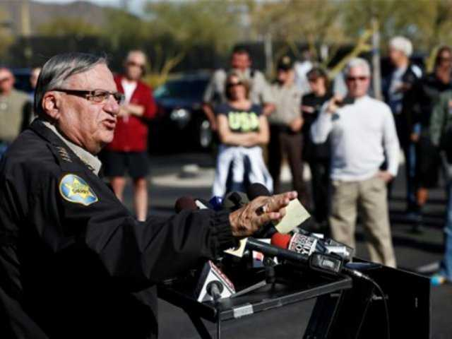 Maricopa County Sheriff Joe Arpaio speaks with the media talking about the Sheriff's new program providing security around schools in his jurisdiction, at Anthem Elementary School Wednesday, Jan. 9, 2013, Phoenix.