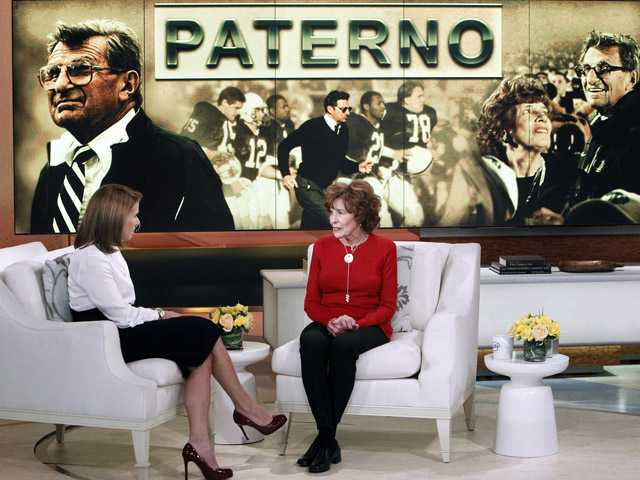 Sue Paterno, widow of legendary football coach Joe Paterno, right, with Katie Couric for an exclusive interview.