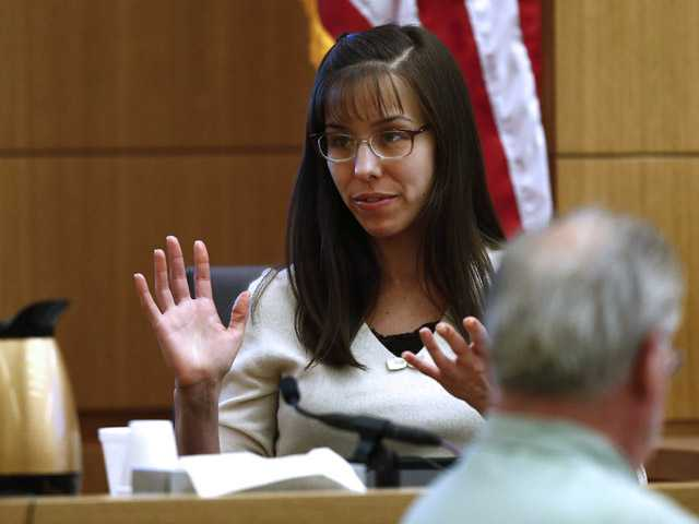 Jodi Arias testifies Monday, Feb. 11, 2012, in Maricopa County Superior Court in Phoenix, Ariz. Arias is accused of murdering her lover, Travis Alexander, in his Mesa, Ariz., home in 2008. (AP)