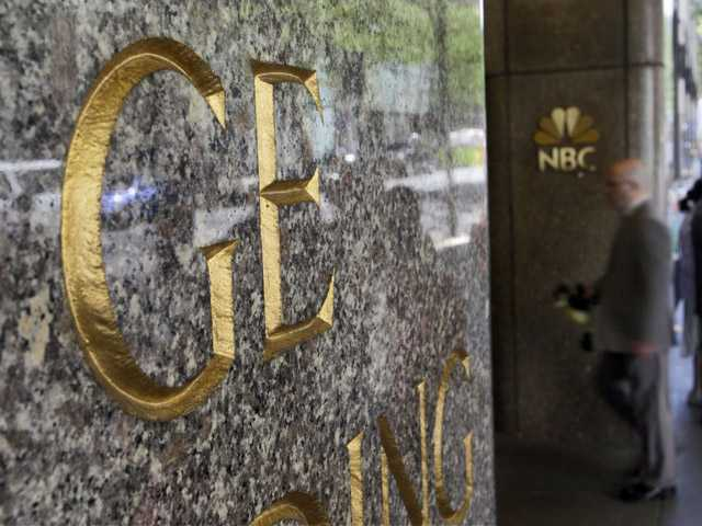 General Electric and NBC logos adorn the GE Building in New York's Rockefeller Center.