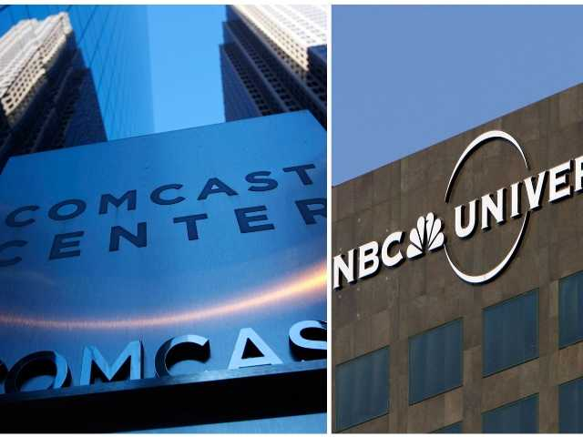 The Comcast Center in Philadelphia and the entrance to the Universal Studios theme park in Los Angeles. Comcast said that it's buying General Electric's 49 percent stake in NBCUniversal.