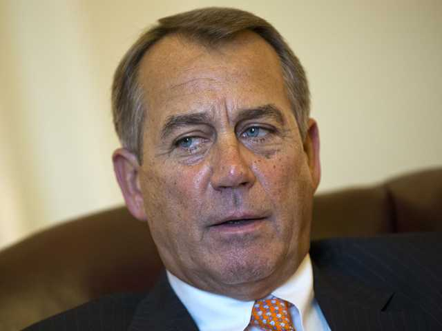 Speaker of the House John Boehner, R-Ohio, speaks during an interview with The Associated Press.