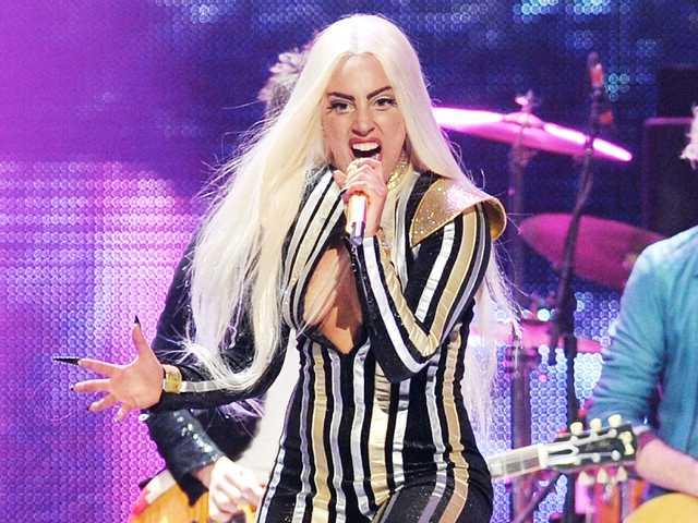 Singer Lady Gaga performing at the Prudential Center in Newark, N.J.