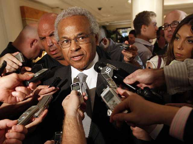 NBA Players Union chief Billy Hunter speaks to reporters after a meeting with the NBA in New York. (AP)