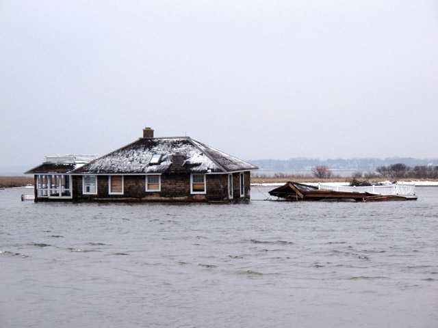 A home in the middle of Barnegat Bay, that was washed into the Bay from Mantoloking N.J. during Superstorm Sandy.