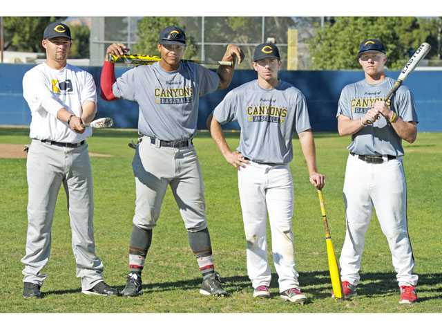 College of the Canyons baseball players, from left, Quincy Quintero, Trey Williams, Alex Bishop and James Bonds all used to play for the same Valencia High School team which won back-to-back Foothill League championships.