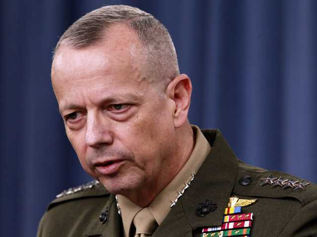 In this March 26, 2012 photo, Marine Gen. John Allen speaks during a news conference at the Pentagon.
