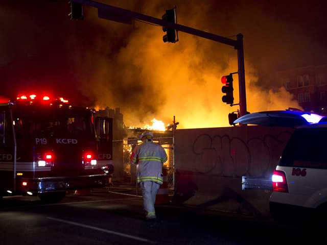 Firefighters are on the scene of a gas explosion and massive fire Tuesday night, Feb. 19.