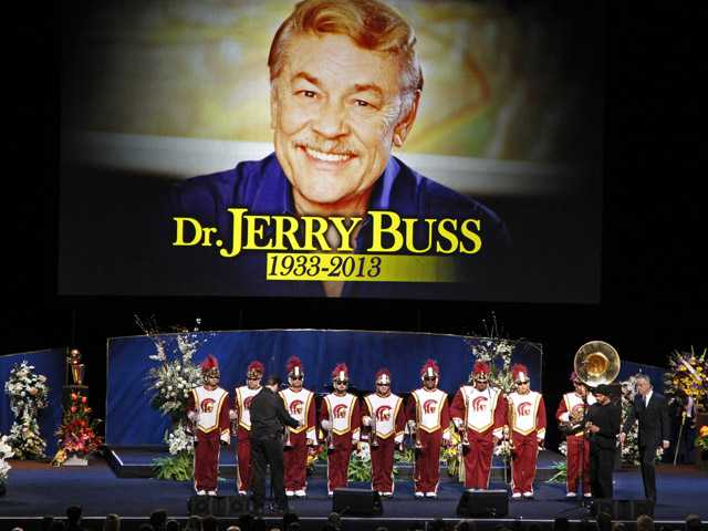"The Southern California marching band prepares to play ""Amazing Grace"" during a memorial service Thursday in Los Angeles for Jerry Buss, the late Los Angeles Lakers owner who died Monday from cancer complications."