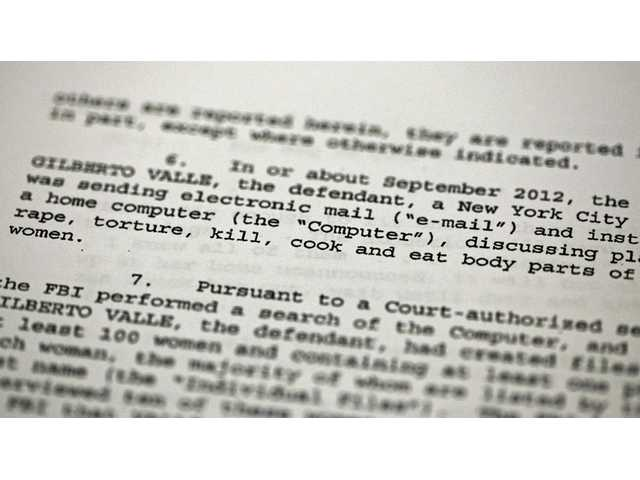 A passage of a Federal complaint filed in New York, against New York City Police Department officer Gilberto Valle.
