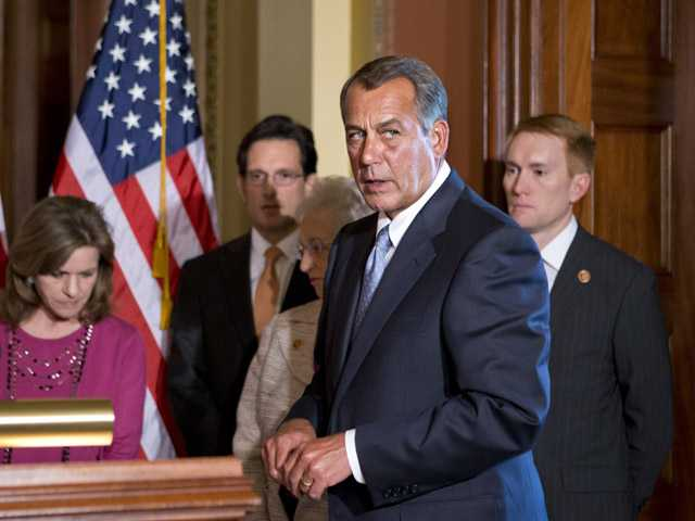 House Speaker John Boehner of Ohio, accompanied by fellow members of the House GOP leadership, responds to President Barack Obama's remarks to the nation's governors earlier today. (AP)