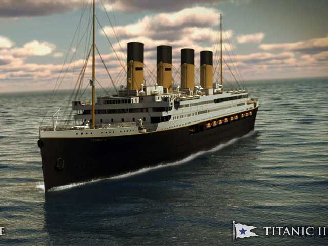 In this rendering provided by Blue Star Line, the Titanic II is shown cruising at sea.