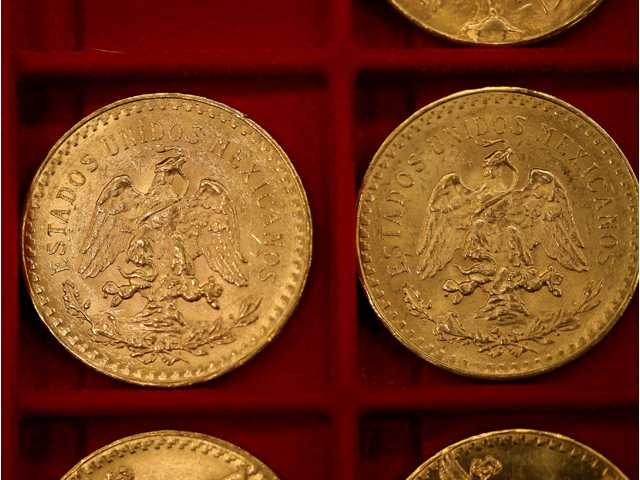 Mexican 50 peso pieces were among the $3.5 million in gold coins auctioned off in Carson City, Nev., on Tuesday.