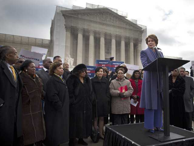 House Minority Leader Nancy Pelosi speaks during a rally outside the Supreme Court in Washington on Wednesday