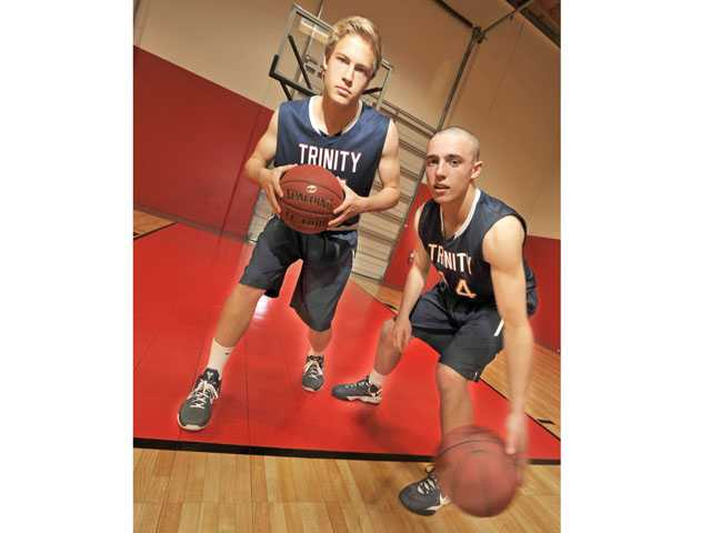 Trinity Classical Academy junior Spencer Klehn, left, and sophomore Ryan Brooks, right, bring contrasting styles to the court — a formula that has helped the Knights get to Saturday's CIF-SS Division VI title game. .