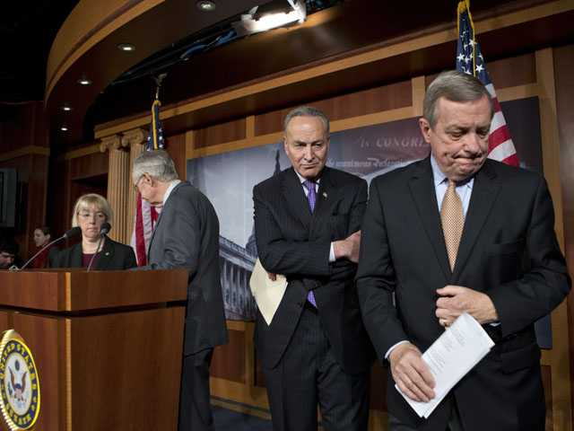 Senate Democratic leaders finish a news conference on Capitol Hill in Washington, Thursday, after answering questions about the impending automatic spending cuts. (AP)