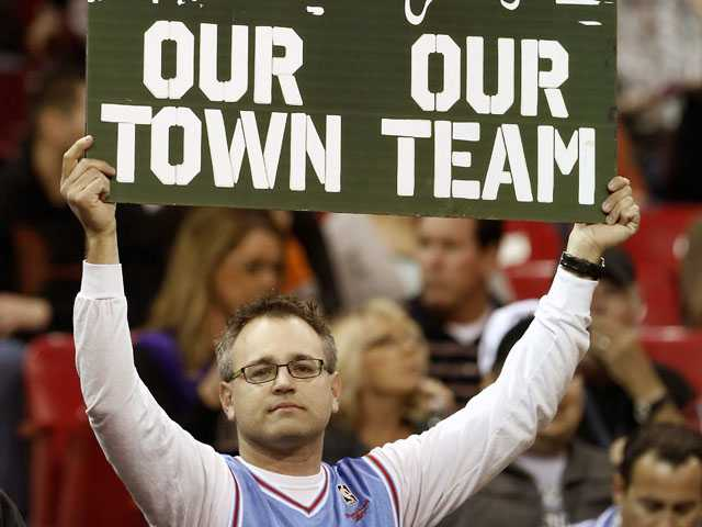 Sacramento Kings fan Paul Schiele shows his support for keeping the team in Sacramento during an NBA basketball game against the Utah Jazz, Saturday, Feb. 9, in Sacramento. (AP)
