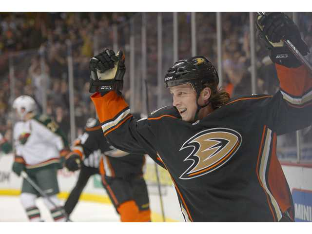 Anaheim Ducks left wing Matt Beleskey celebrates his goal during the first period against the Minnesota Wild on Friday in Anaheim.
