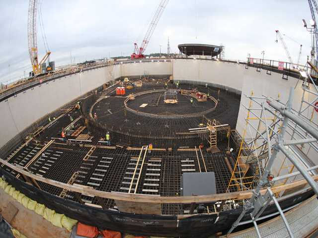 Workers build the pit that will house a new nuclear reactor at the Plant Vogtle nuclear power plant in Augusta, Ga. (AP)