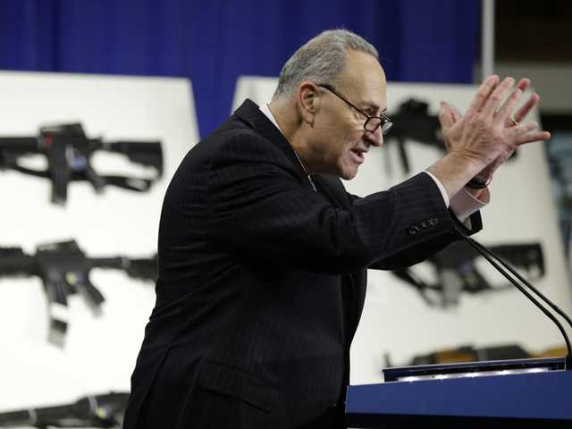 In this Jan. 24 file photo, Sen. Charles Schumer, D-N.Y., introduces legislation on assault weapons and high-capacity ammunition feeding devices.