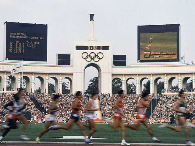 This August 1984 file photo, shows the field of entrants during the men's 5,000 meters race at the Summer Olympic Games in Los Angeles. (AP)