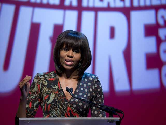 First lady Michelle Obama speaks at the Partnership for a Healthier America's second Building a Healthier Future Summit on childhood obesity, Friday. (AP)