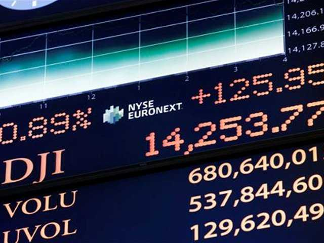 A board on the floor of the New York Stock Exchange shows the closing number for the Dow Jones industrial average on March 5, which beat the previous high it set in October 2007.