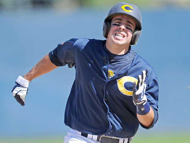 College of the Canyons' Alex Bishop legs out a triple in the first inning against L.A. Valley College. COC won 7-5. Photo by Jayne Kamin-Once/For The Signal