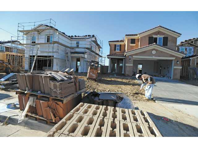 New homes under construction along Christopher Lane in Saugus last December. KB Home has purchased 54 lots from Newhall Land, on which it will build new SCV homes.