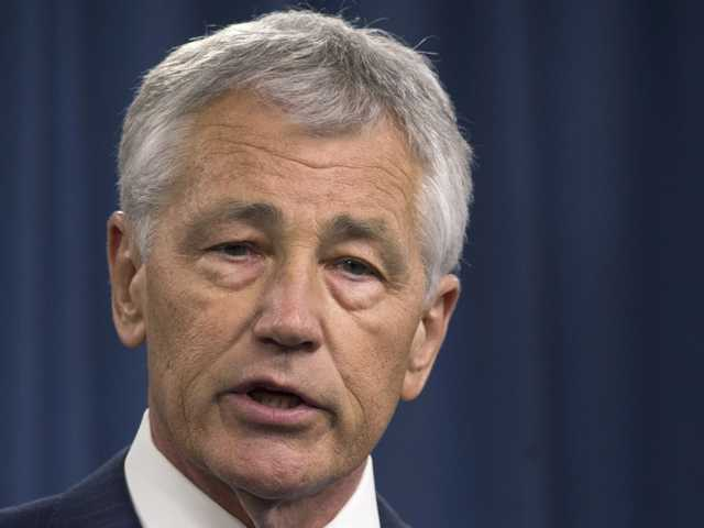 Defense Secretary Chuck Hagel speaks during a news conference at the Pentagon. (AP)