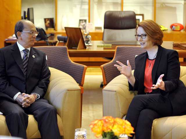 President of Myanmar Thein Sein, left, meets with Australian Prime Minister Julia Gillard at Parliament House in Canberra, Australia on Monday.