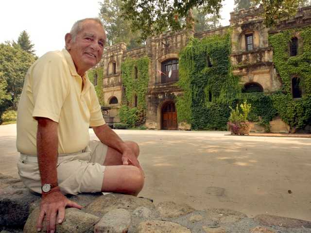 Winemaker Jim Barrett, in front of Chateau Montelena in Calistoga, Calif., died Thursday at age 86. His superb wines put California on the international map.