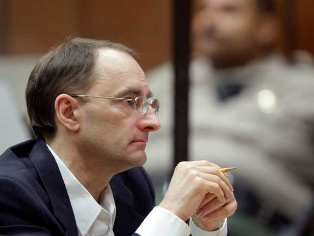 Christian Karl Gerhartsreiter at his murder trial of a San Marino couple in L.A. Criminal Court on Monday.  The German immigrant posed as a member of the Rockefeller family.