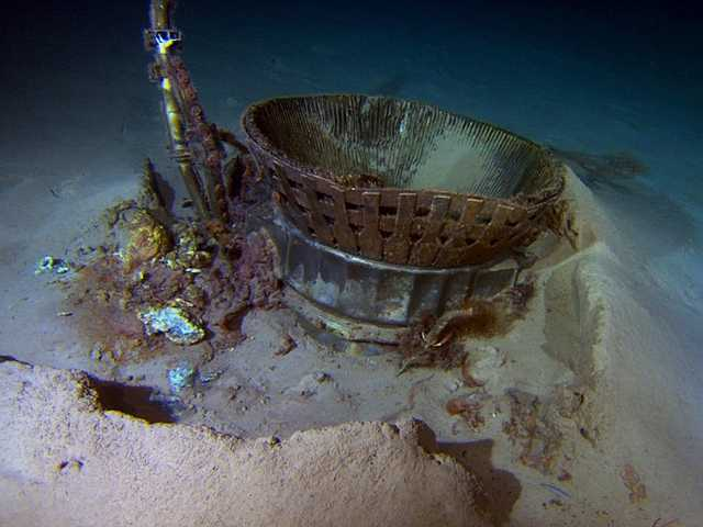 This image provided by Bezos Expeditions shows a thrust chamber of an Apollo F-1 engine on the bottom of the Atlantic Ocean in March 2013. An expedition led by Amazon CEO Jeff Bezos pulled up two rocket engines, including this one, that helped boost Apollo astronauts to the moon. Bezos and NASA announced the recovery on Wednesday.