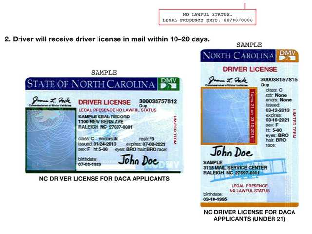 This image shows a portion of press release distributed by the North Carolina Department of Motor Vehicles which illustrates new driver's licenses for applicants of Deferred Action for Childhood Arrivals.