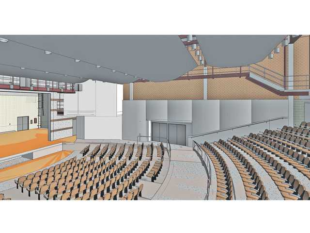 "Artist's rendering of the interior of Canyon High School's planned new auditorium. Plans for the Saugus auditorium are ""virtually identical,"" officials say."
