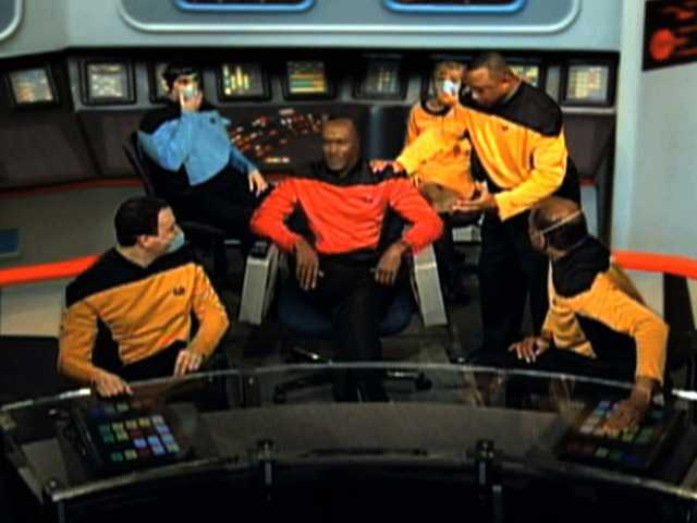 "This video image from an Internal Revenue Service video shows IRS employees portraying ""Star Trek"" characters in a video parodying the TV show that was made for a 2010 IRS training and leadership conference."