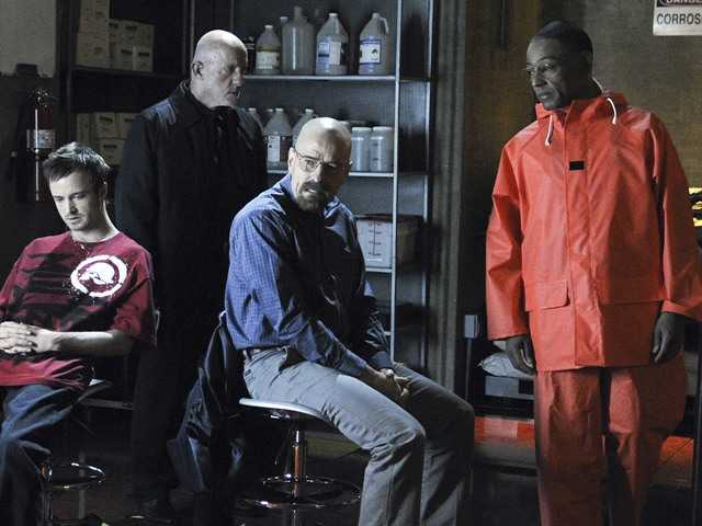 "Aaron Paul, left, Jonathan Banks, Bryan Cranston and Giancarlo Esposito are shown in a scene from the premiere episode of Season 4 of ""Breaking Bad."""