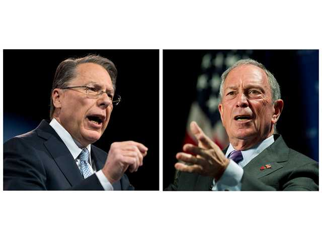 (Left) Wayne LaPierre, left, CEO of the National Rifle Association, makes remarks at CPAC 2013, at the Gaylord National Resort & Convention Center in National Harbor, Md on March 15. (Right) New York City Mayor Michael Bloomberg speaks to the Economic Club of Washington on Sept. 12 in Washington.