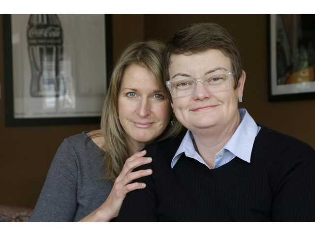 Sandy Stier, left, and Kris Perry, the couple at the center of the Supreme Court's consideration of gay marriage, are shown at their home in Berkeley recently.